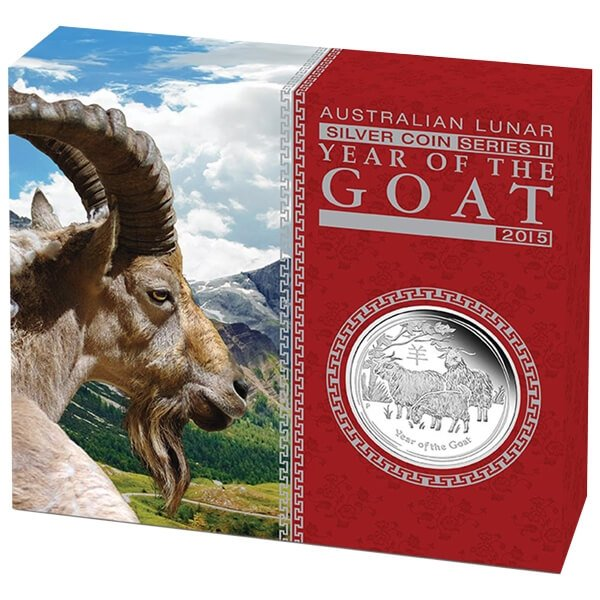 Australia 2015 0.5$  Year of the Goat Australian Lunar Series II 2015  1/2 oz Proof Silver Coin
