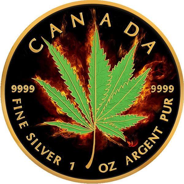 Hybrid Burning Marijuana 1oz Black Ruthenium BU Silver Coin 5$ Canada 2017