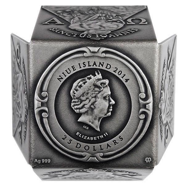 Niue 2014 25$ John Paul II Antique finish Silver Cube Coin 7 Oz