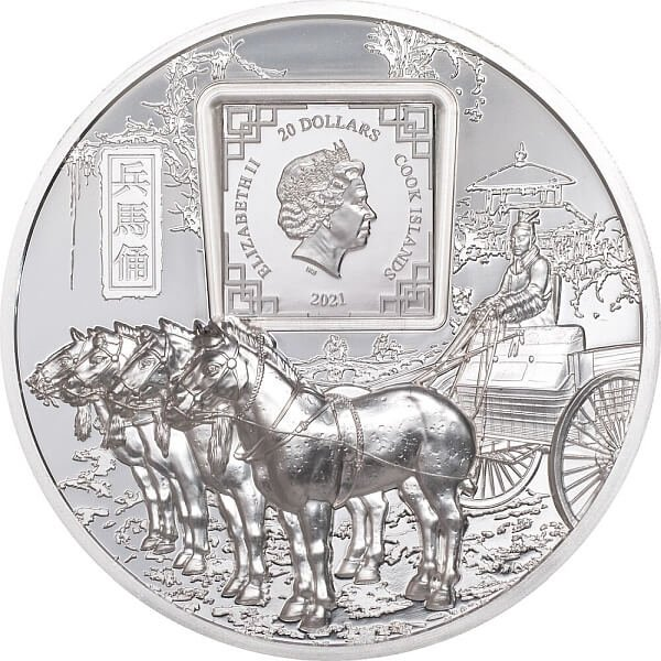 Terracotta Warriors 3 oz Proof Silver Coin 20$ Cook Islands 2021