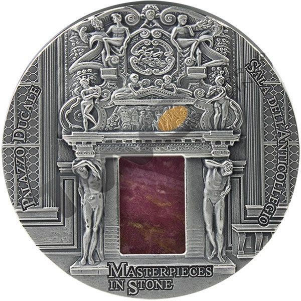 Sala dell'Anticollegio-Palazzo Ducale Masterpieces in Stone 3 oz Antique finish Silver Coin 10$ Fiji 2016