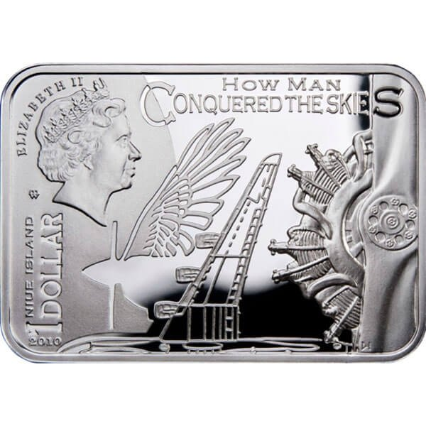 Glider How Man Conquered Skies Proof Silver Coin 1$ Niue 2010