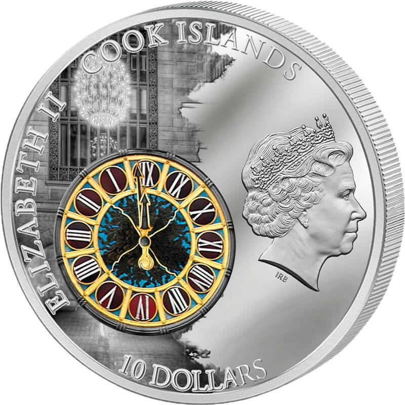 Cook Islands 2013 10$ Grand Central Terminal - New York Windows Of History Proof Silver Coin