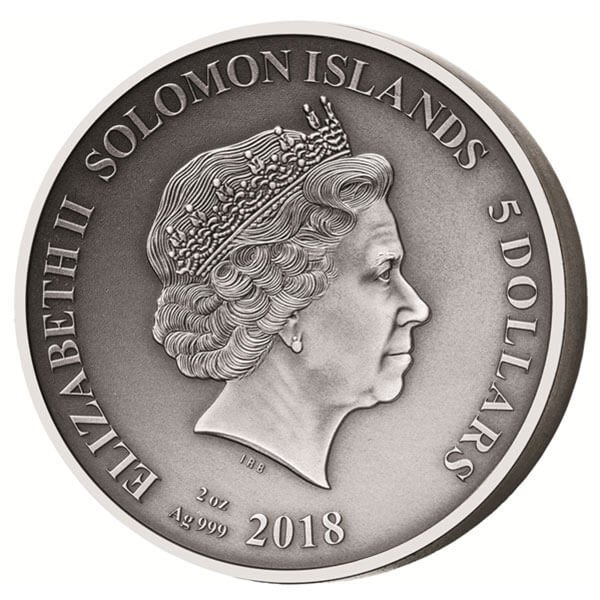 Circe and Odysseus The Adventures of Odysseus 2 oz Antigue finish Silver Coin 5$ Solomon Islands 2018