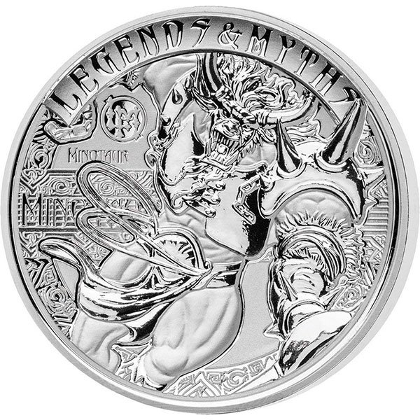 Minotaur Legends and Myths II 2oz Reverse Proof Silver Coin 5$ Solomon Islands 2018