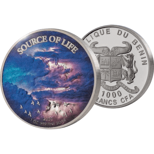 Air Source of Life 1 oz Proof-like Silver Coin 1000 Francs Benin 2020