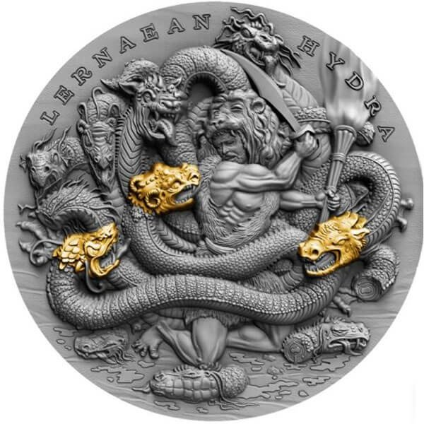 Lernaean Hydra Twelve Labours of Hercules 2 oz Antique finish Silver Coin 5$ Niue 2019