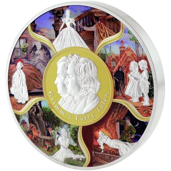 Grimm's Fairy Tales 1001g 3D Highly Detailed Relief BU Silver Coin Solomon Islands 100$ 2017