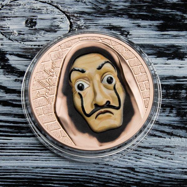 Salvatore Revolutionary Masks 1 oz Black Proof Silver Coin 5$ Cook Islands 2018