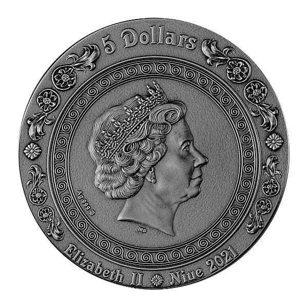Siren Mermaid 2 oz Antique finish Silver Coin 5$ Niue 2021
