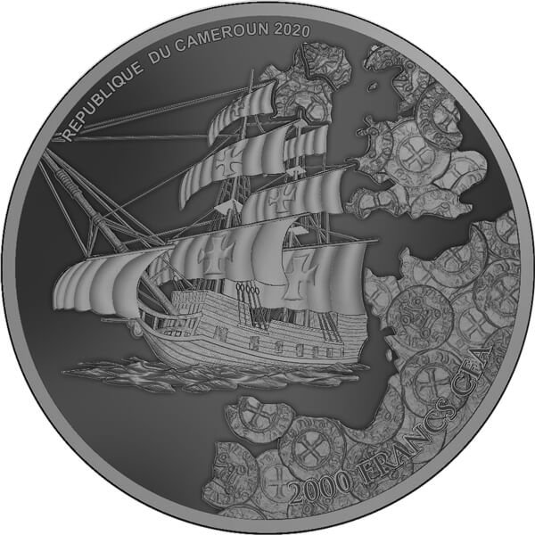 Templar's Treasure 2 oz Antique finish Silver Coin 2000 Francs Cameroon 2020