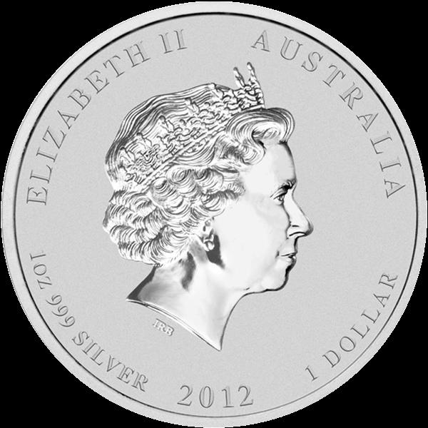 Year of the Dragon Black - Berlin Coin Show Specimen Silver Coin 1$ Australia 2012