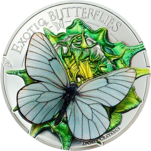 Mongolia 2017 500 togrog Exotic Butterflies 3D – 2017 Aporia Crataegi Proof Silver Coin