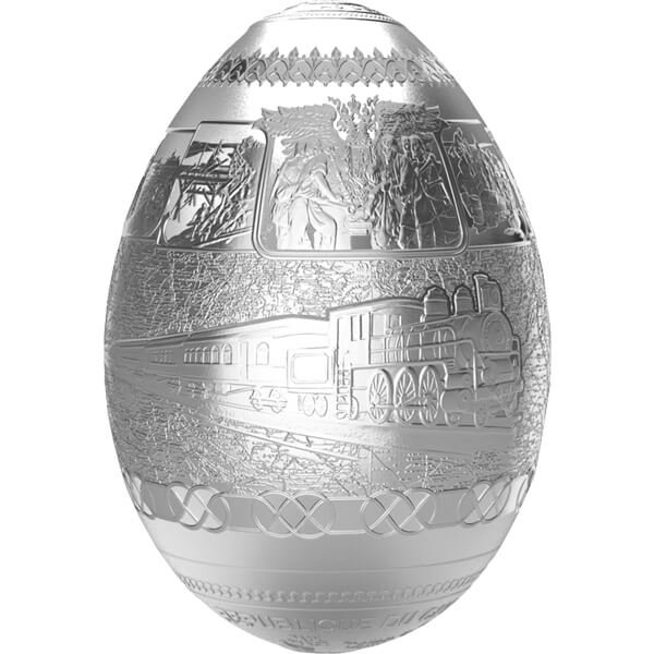 Trans-Siberian Railway Egg Imperial Faberge Eggs 7oz Proof Silver Coin 5000 Franc Cameroon 2016