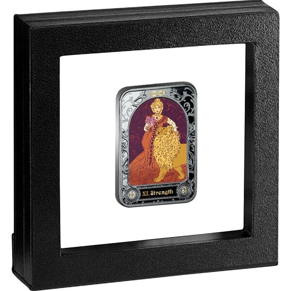 Strength Tarot 28.28 g Black Proof Silver Coin 1000 Francs Cameroon 2021