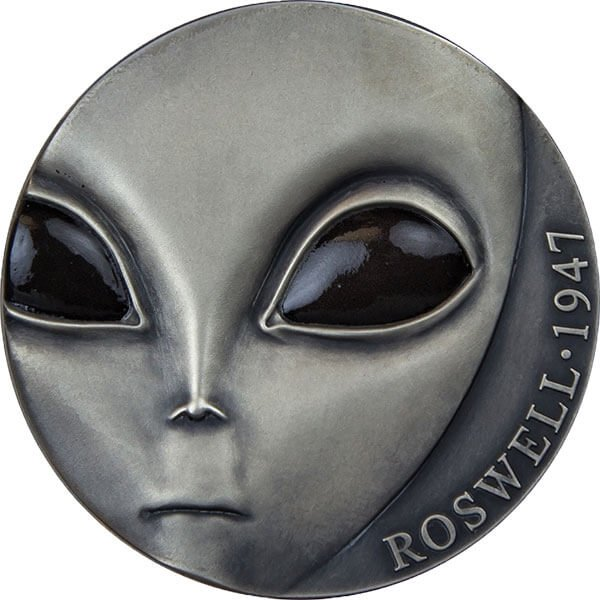 70th Anniversary of Roswell Incident UFO Antique finish Silver Coin 3000 Francs Cameroon 2017