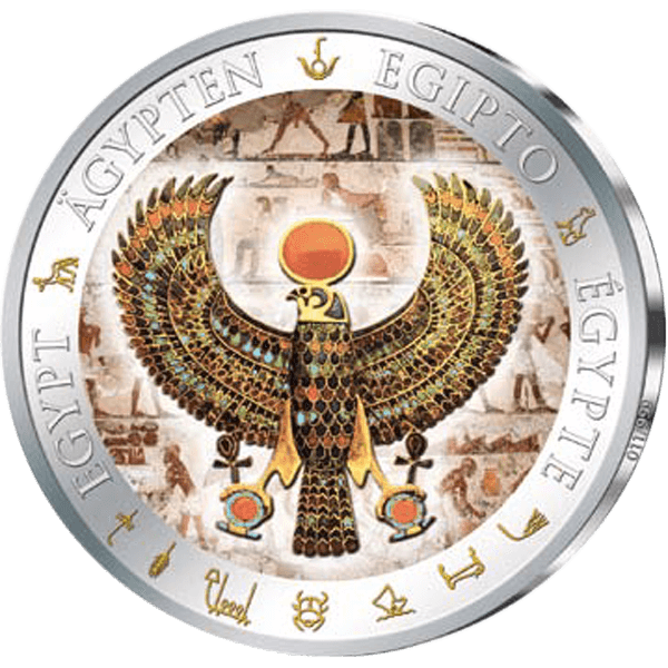 Fiji 2012 1$ Falcon Pectoral  Golden and Colorful Egypt Proof Silver Coin