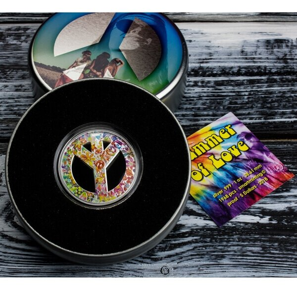 Summer of Love 1 oz Proof Silver Coin 5$ Palau 2018