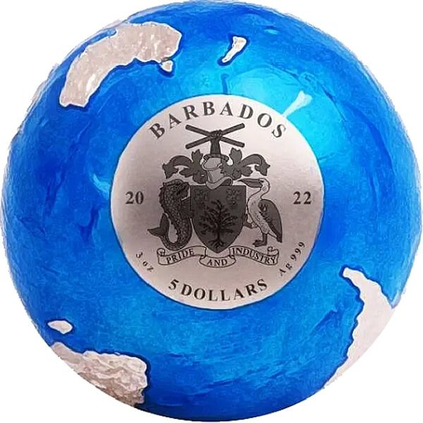 Blue Marble ENDANGERED Meteorite From Space  3 oz  Silver Coin 5$ Barbados 2022