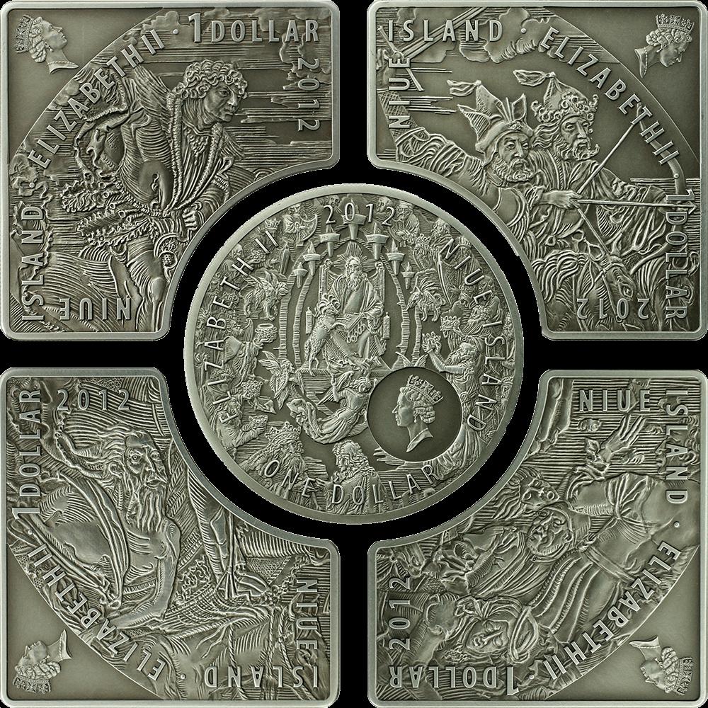 Horsemen of Apocalypse UNC Silver Set 5 x 1$ Niue 2012