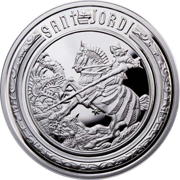 St. George Holy Helpers Proof Silver Coin 10 diners Andorra 2010
