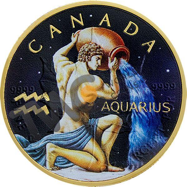 Maple Leaf Zodiac - Aquarius 1 oz BU Silver Coin 5$ Canada 2018