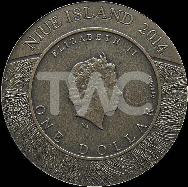 Niue 2014 1$ Buffalo Wildlife Family Antique finish Silver Coin