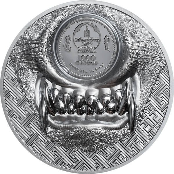 Mystic Wolf 2 oz Black Proof Silver Coin 1000 togrog Mongolia 2021