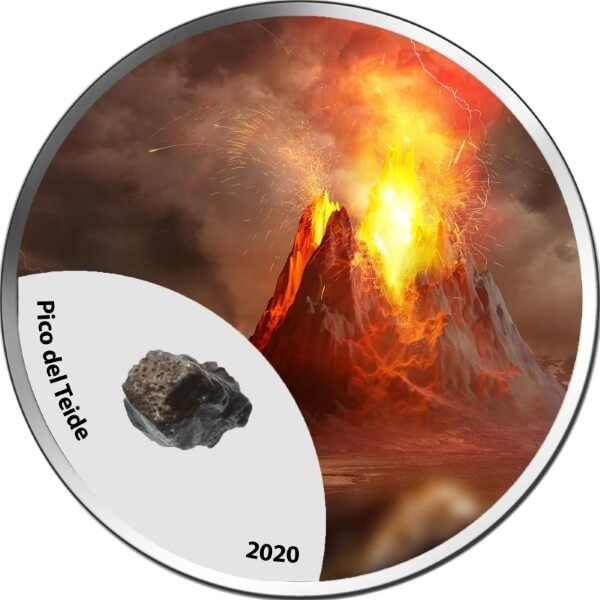 Pico Del Teide Mountains of Fire  1 oz BU Silver Coin 1000 Francs CFA Cameroon 2020