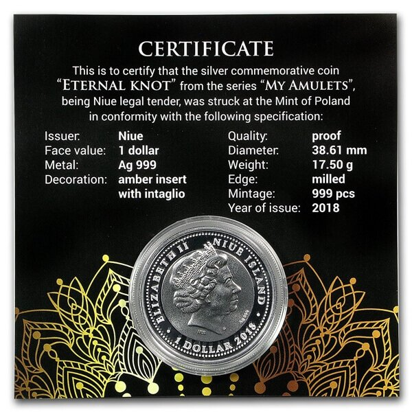 Eternal Knot Proof Silver Coin 1$ Niue 2018