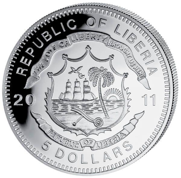 Liberia 2011 5$ Shinkansen 500. History of Railroads Proof Silver Coin