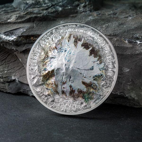 Elbrus Seven Summits 5oz BU Silver Coin 25 $ Cook Island 2021