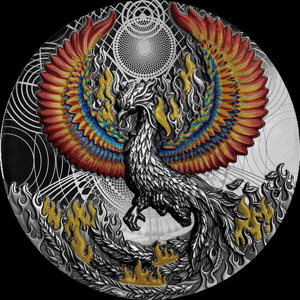 Phoenix 2 oz Black Proof Silver Coin 5$ Niue 2021