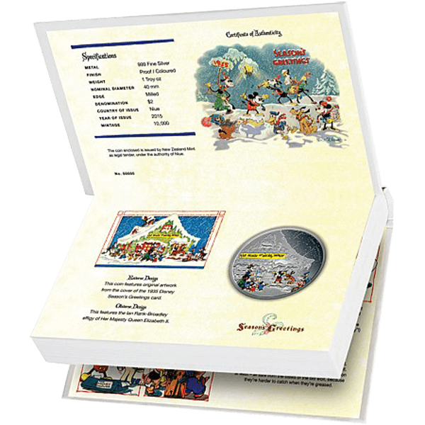 Niue 2015 2$ Disney Seasons Greetings Classic - The House of Mickey Mouse 1 oz Proof Silver Coin