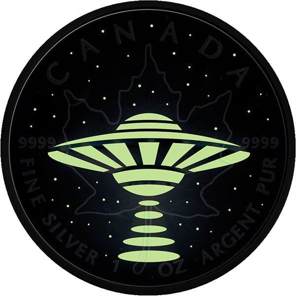 Canada 2017 5$ Maple Leaf UFO 1oz Glow in the Dark BU Silver Coin