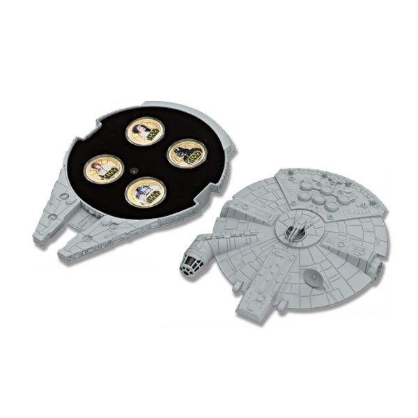 Niue 2011 1$ Star Wars Base Metal Set Millennium Falcon case