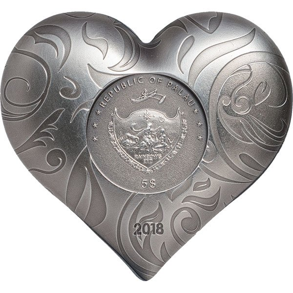 Silver Heart 1 oz Antique finish Silver Coin 5$ Palau 2018 5$