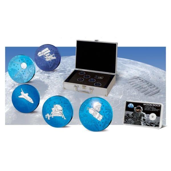 Milestones In Space + Original Moonstone BU Niobium Set 5x50 Kwacha Malawi 2009