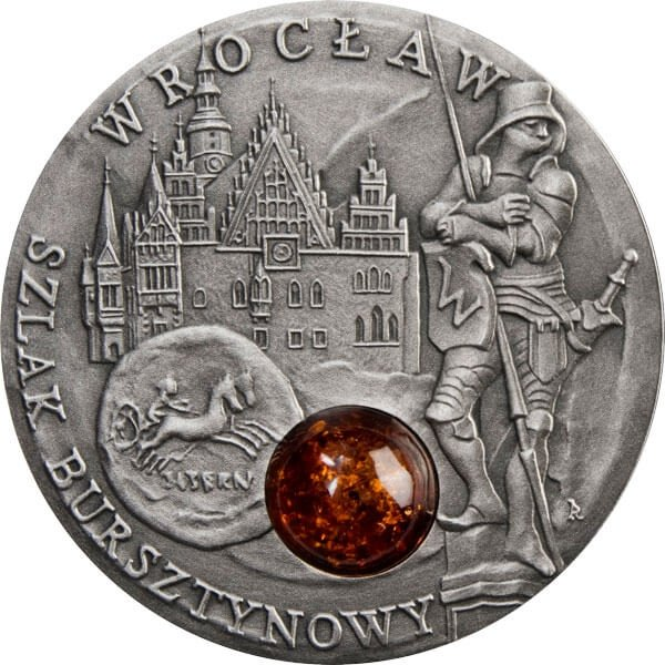 Wroclaw Amber Route UNC Silver Coin 1$ Niue 2009