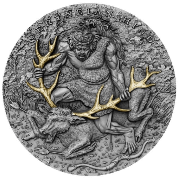 Ceryneian Hind Twelve Labours of Hercules 2 oz Antique finish Silver Coin 5$ Niue 2020