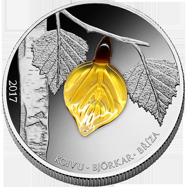 Equatorial Guinea 2017 1000 Francs Birch Leaf Autumn Proof Silver Coin