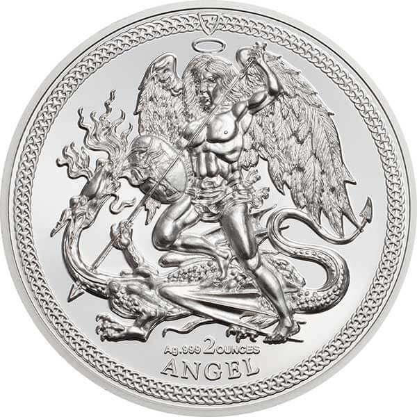 1 Angel Piedfort 2 oz Proof Silver coin Isle of Man 2018