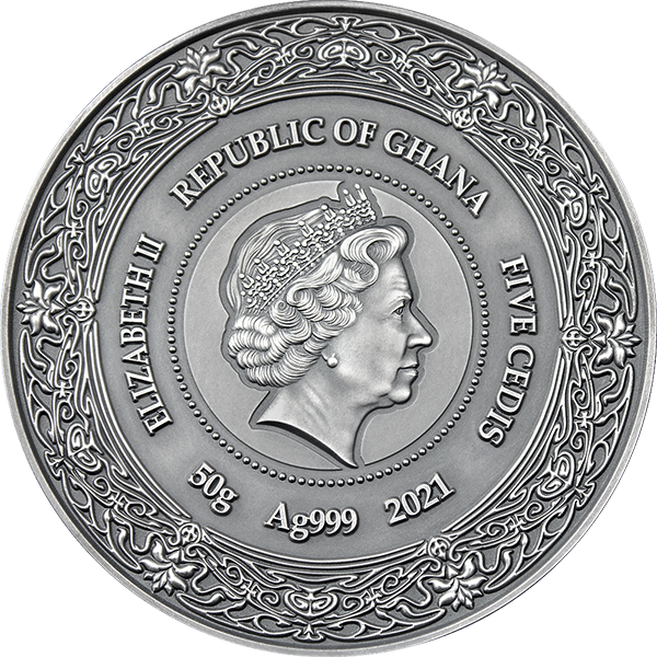 Brigid Goddesses of Health 50 g Antique finish Silver Coin 5 Cedis Republic of Ghana 2021