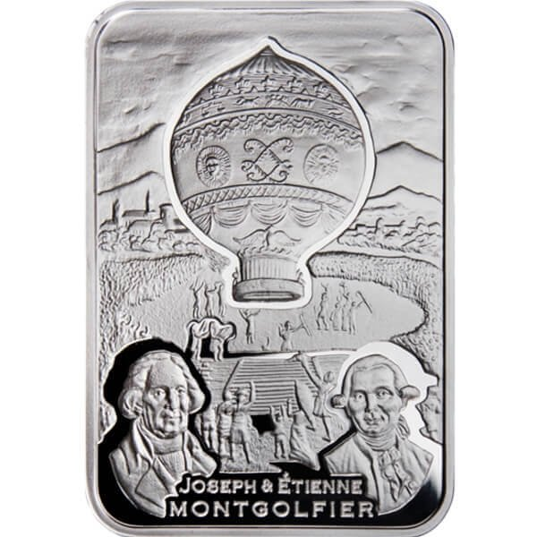 Balloon How Man Conquered Skies Proof Silver Сoin 1$ Niue 2010