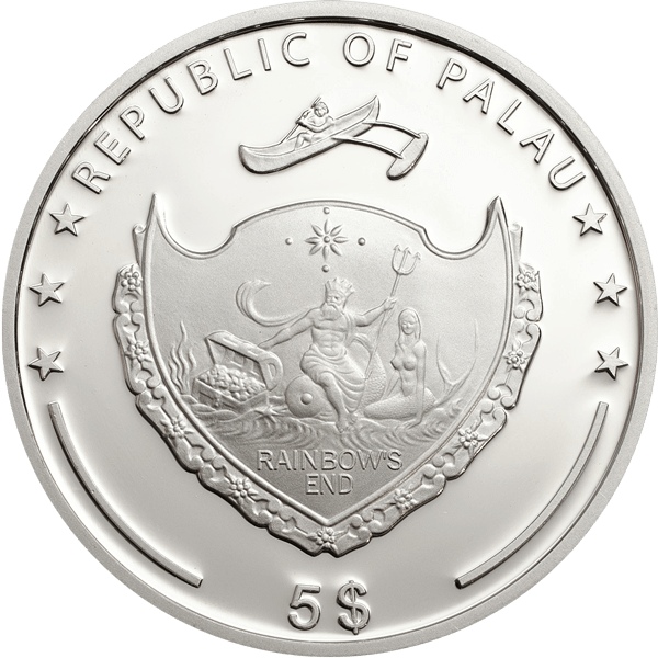 Palau 2014 5$ Ounce of Luck 2014 Four leaf clover Proof Silver Coin