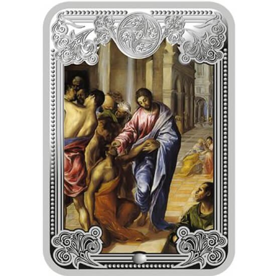 Healing the Blind The Wonders of Jesus Proof Silver Coin 5 diners Andorra 2013
