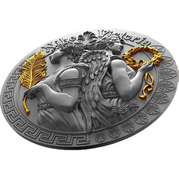 Victoria and Nike Goddesses 2 oz Antique finish Silver Coin 5$ Niue 2018