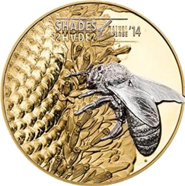 Cook Islands 2014 5$ Bee Shades of Nature Proof Silver Coin