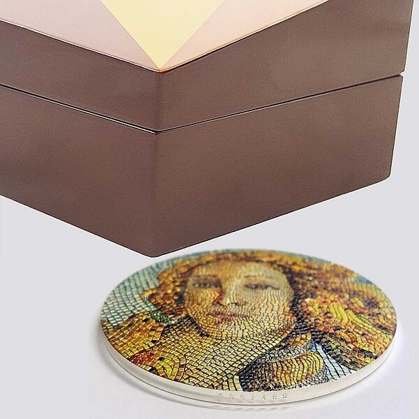 Young Girl In Green Great Micromosaic Passion 3 oz Proof Silver Coin 20$ Palau 2021