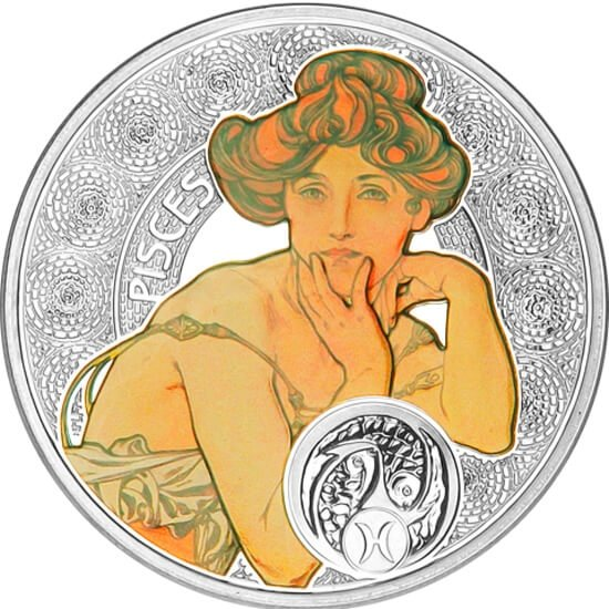 Niue 2010 1$ Pisces A. Mucha Zodiac Proof Silver Coin